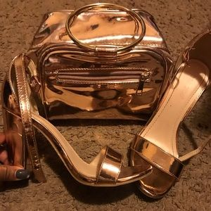 Metallic Purse and Heel Set